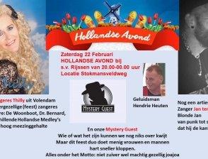 Artiesten Hollandse Avond 22 februari